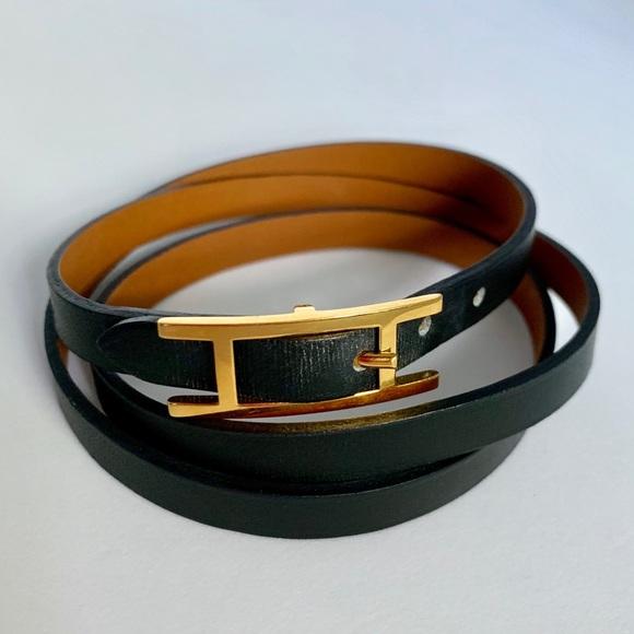 Hermes Jewelry - Hapi 3 Hermes Bracelet Black Leather